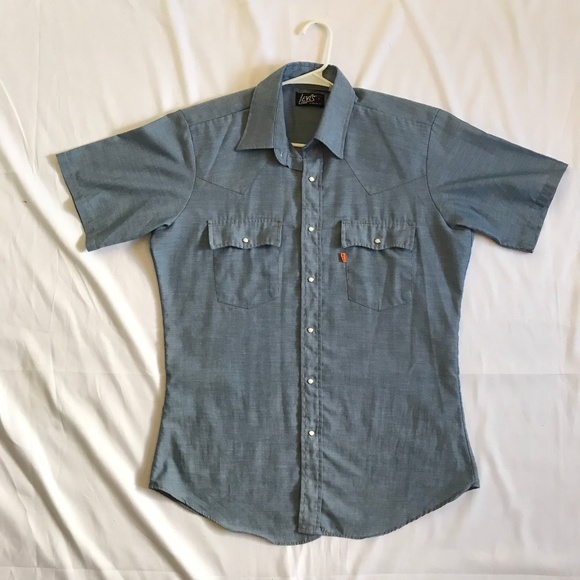 f236e060e1 Levi s Other - Vintage Levis Chambray Pearl Snap Shirt Orange Tag